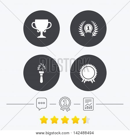 First place award cup icons. Laurel wreath sign. Torch fire flame symbol. Prize for winner. Chat, award medal and report linear icons. Star vote ranking. Vector