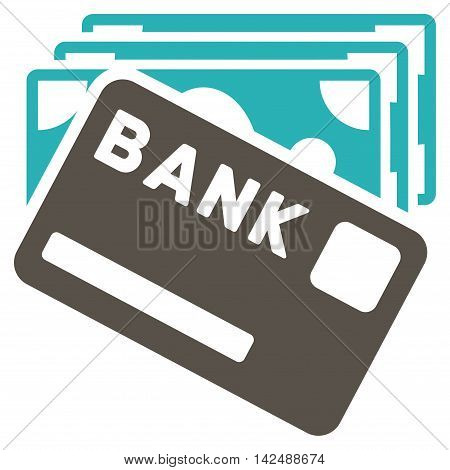 Credit Money icon. Vector style is bicolor flat iconic symbol with rounded angles, grey and cyan colors, white background.