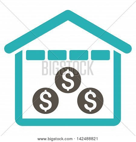 Money Depository icon. Vector style is bicolor flat iconic symbol with rounded angles, grey and cyan colors, white background.