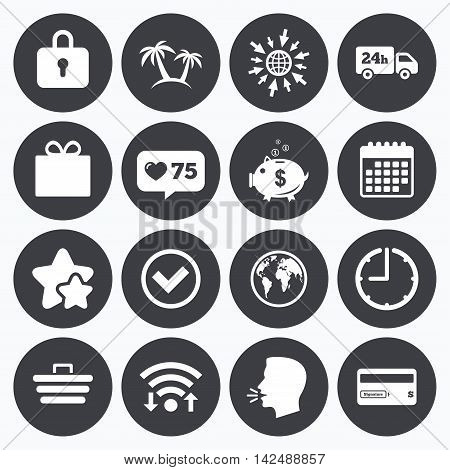 Calendar, wifi and clock symbols. Like counter, stars symbols. Online shopping, e-commerce and business icons. Credit card, gift box and protection signs. Piggy bank, delivery and tick symbols. Talking head, go to web symbols. Vector