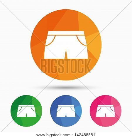 Women's sport shorts sign icon. Clothing symbol. Triangular low poly button with flat icon. Vector