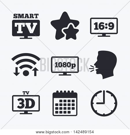 Smart TV mode icon. Aspect ratio 16:9 widescreen symbol. Full hd 1080p resolution. 3D Television sign. Wifi internet, favorite stars, calendar and clock. Talking head. Vector