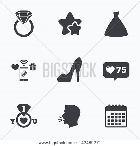 Wedding dress icon. Women's shoe symbol. Wedding or engagement day ring with diamond sign. Flat talking head, calendar icons. Stars, like counter icons. Vector
