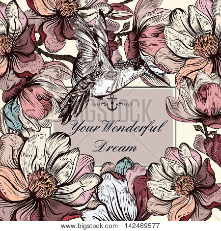 Retro styled invitation or save the date card with hand drawn magnolia flowers and hummingbird