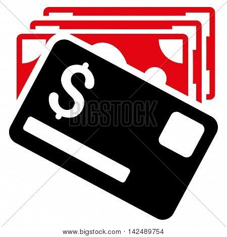 Banknotes and Card icon. Vector style is bicolor flat iconic symbol with rounded angles, intensive red and black colors, white background.