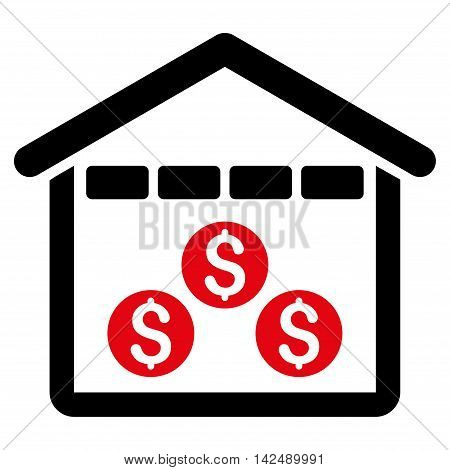 Money Depository icon. Vector style is bicolor flat iconic symbol with rounded angles, intensive red and black colors, white background.