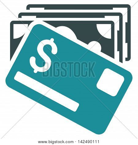 Banknotes and Card icon. Vector style is bicolor flat iconic symbol with rounded angles, soft blue colors, white background.