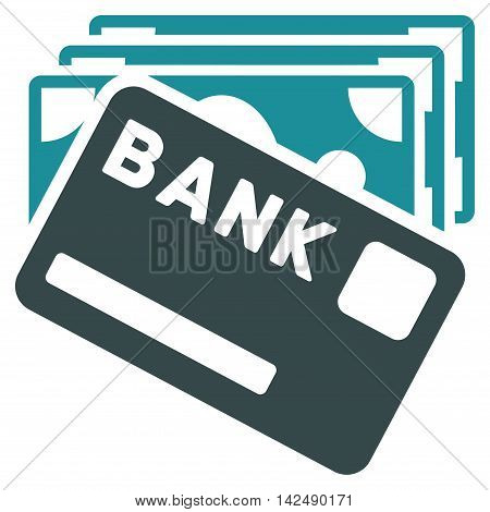 Credit Money icon. Vector style is bicolor flat iconic symbol with rounded angles, soft blue colors, white background.