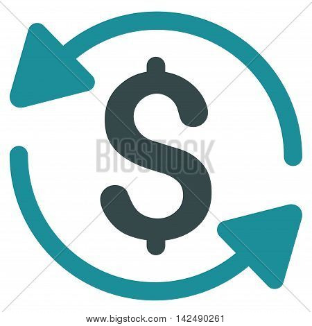 Money Turnover icon. Vector style is bicolor flat iconic symbol with rounded angles, soft blue colors, white background.