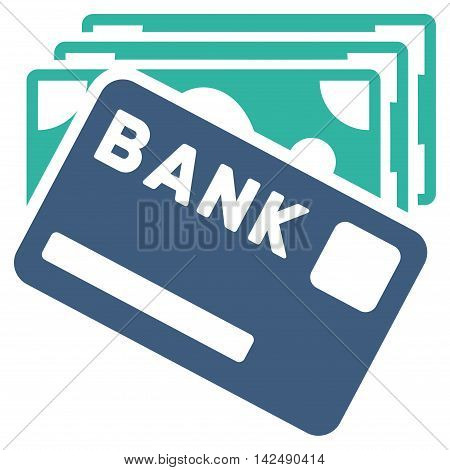 Credit Money icon. Vector style is bicolor flat iconic symbol with rounded angles, cobalt and cyan colors, white background.
