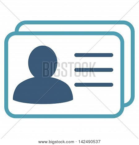 Account Cards icon. Vector style is bicolor flat iconic symbol with rounded angles, cyan and blue colors, white background.