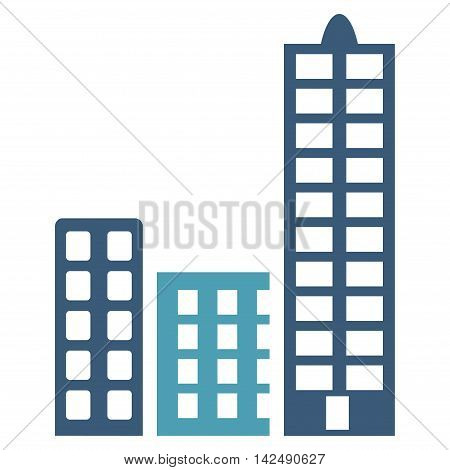 City icon. Vector style is bicolor flat iconic symbol with rounded angles, cyan and blue colors, white background.