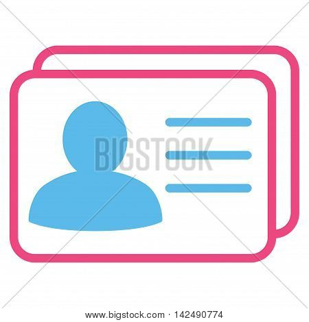 Account Cards icon. Vector style is bicolor flat iconic symbol with rounded angles, pink and blue colors, white background.