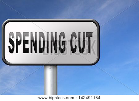 Spending cut lower budgets and public spendings cuts economic recession 3D illustration