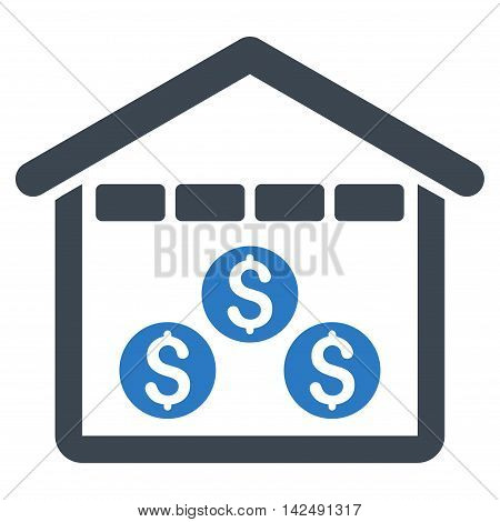 Money Depository icon. Vector style is bicolor flat iconic symbol with rounded angles, smooth blue colors, white background.