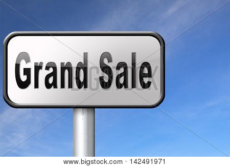 Grand sale, sales and reduced prices and sellout, billboard road sign. 3D illustration