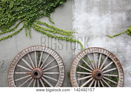 Wooden wheel on the background of an old brick wall