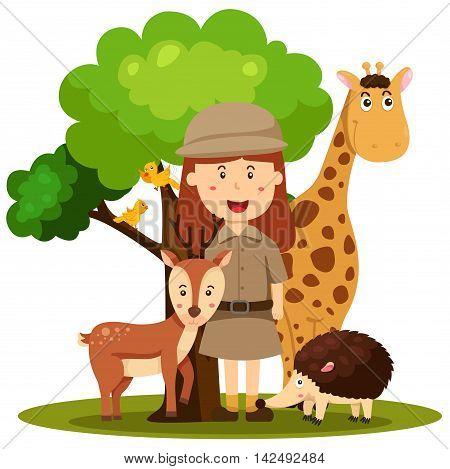 Illustrator of zoo keeper women on the zoo