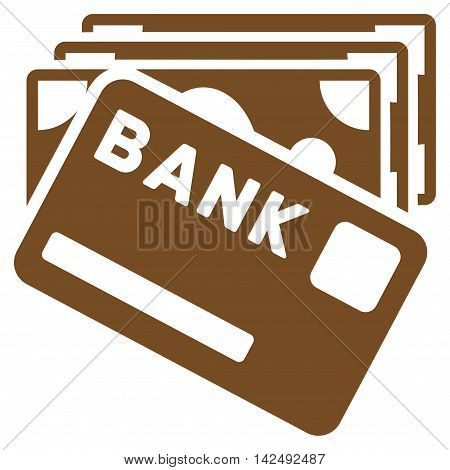 Credit Money icon. Vector style is flat iconic symbol with rounded angles, brown color, white background.