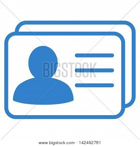 Account Cards icon. Vector style is flat iconic symbol with rounded angles, cobalt color, white background.