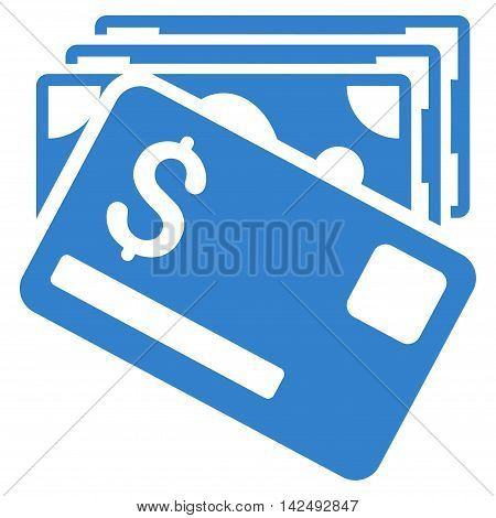 Banknotes and Card icon. Vector style is flat iconic symbol with rounded angles, cobalt color, white background.