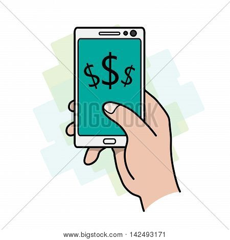 Make Money Using Smartphone. A hand drawn vector illustration of a smartphone with dollar currency symbols on it.