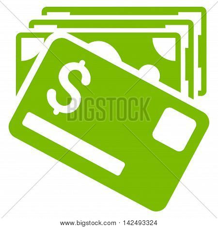 Banknotes and Card icon. Vector style is flat iconic symbol with rounded angles, eco green color, white background.