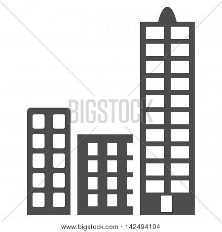 City icon. Vector style is flat iconic symbol with rounded angles, gray color, white background.