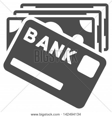 Credit Money icon. Vector style is flat iconic symbol with rounded angles, gray color, white background.