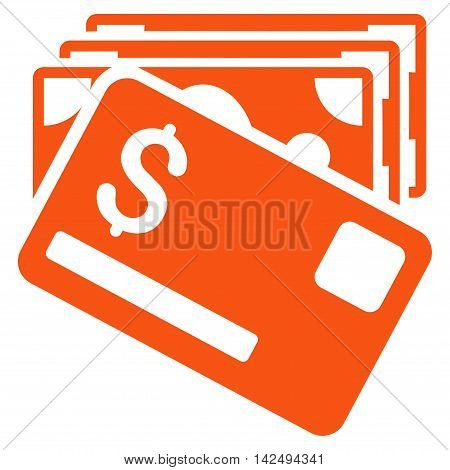 Banknotes and Card icon. Vector style is flat iconic symbol with rounded angles, orange color, white background.