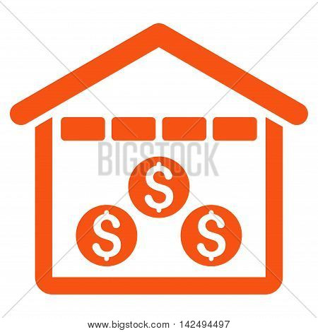 Money Depository icon. Vector style is flat iconic symbol with rounded angles, orange color, white background.