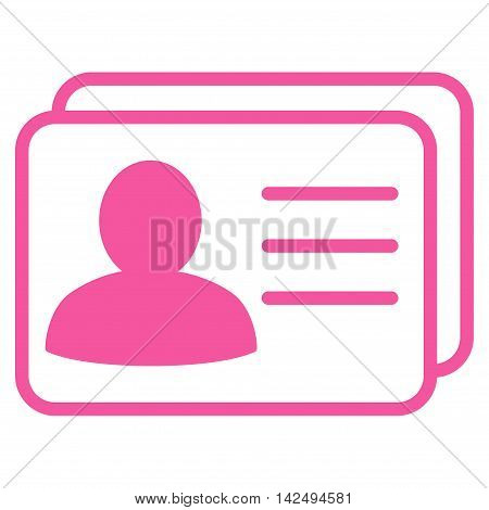 Account Cards icon. Vector style is flat iconic symbol with rounded angles, pink color, white background.