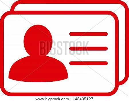 Account Cards icon. Vector style is flat iconic symbol with rounded angles, red color, white background.