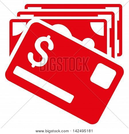 Banknotes and Card icon. Vector style is flat iconic symbol with rounded angles, red color, white background.