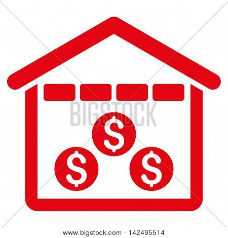 Money Depository icon. Vector style is flat iconic symbol with rounded angles, red color, white background.