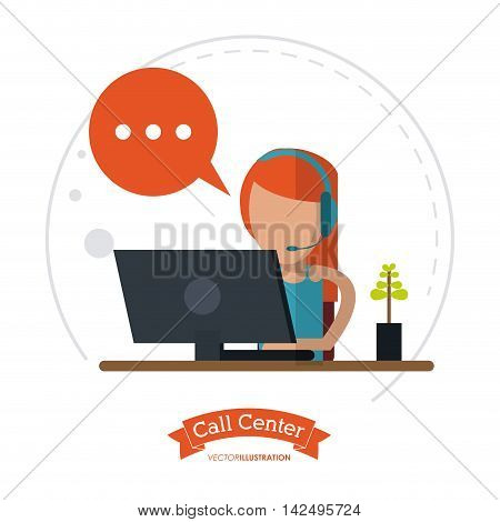 operator assistant woman headphone computer bubble plant call center technical service icon, Vector illustration