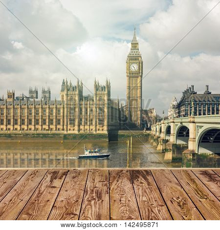 Empty wooden table over London Big Ben landmark