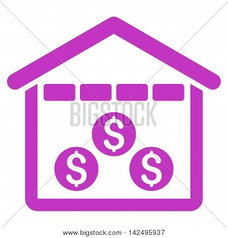 Money Depository icon. Vector style is flat iconic symbol with rounded angles, violet color, white background.