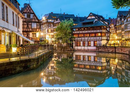 Quaint timbered houses of Petite France in Strasbourg France. Franch traditional houses at Strasbourg France.