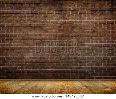 Old brick wall with wood floor and plinth background. Background for the design.