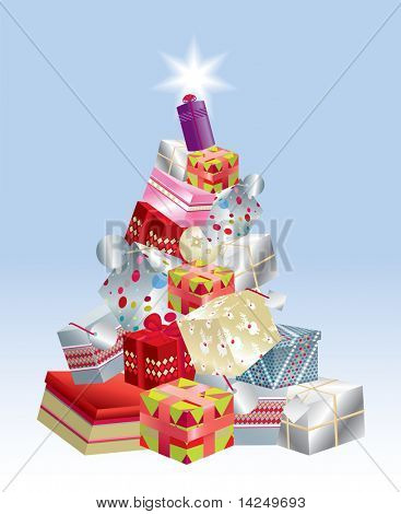 Detailed vector illustration of a selection of brightly coloured christmas presents in a stack to form the shape of a christmas tree, with a star on top.