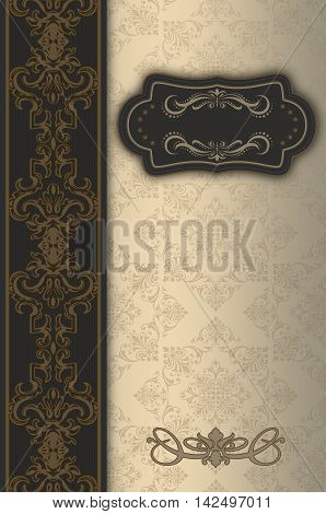 Vintage background with decorative borderframe and old-fashioned elegant patterns.