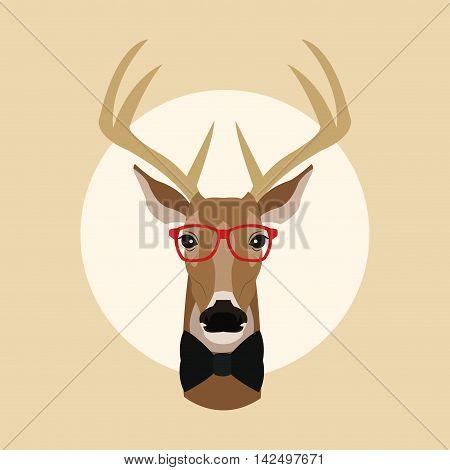 reindeer deer glasses animal hipster style retro fashion icon, Vector illustration