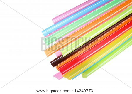 Colorful plastic straws used for drinking soft drinks