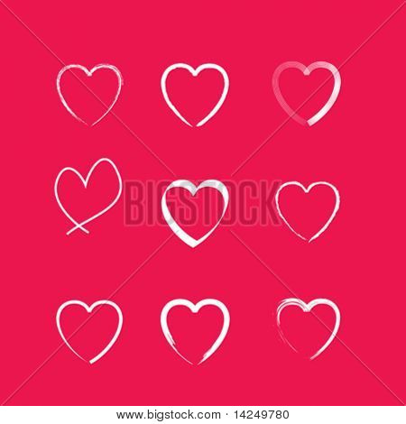 A set of 9 simple line drawing vector icon hearts