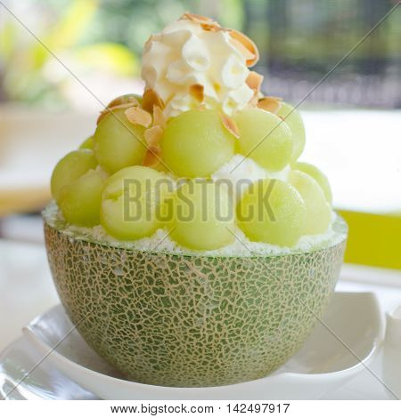 Ice cantaloupe Bingsu famous korean ice cream.