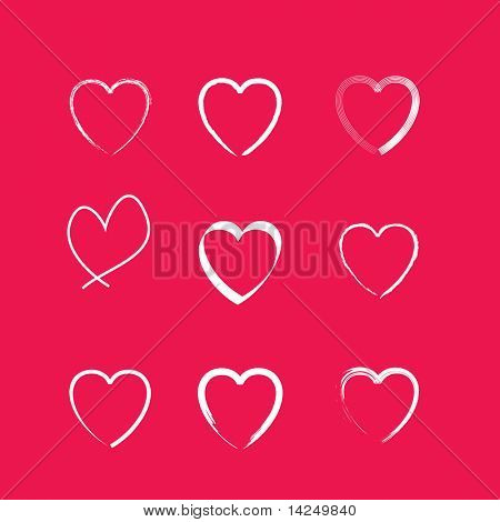 A set of 9 simple line drawing icon hearts