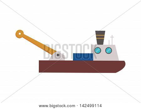 flat design fishing boat icon vector illustration