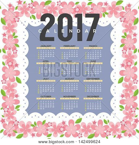 2017 Printable Calendar Starts Sunday Pink Flowers Border Vector Illustration. EPS 10