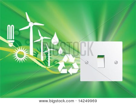 Illustration of a eco friendly home switch